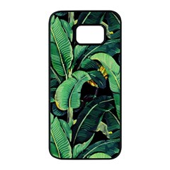 Night Tropical Leaves Samsung Galaxy S7 Edge Black Seamless Case by goljakoff