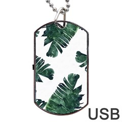 Tropical Leaves Dog Tag Usb Flash (two Sides) by goljakoff