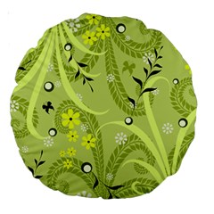 Seamless Pattern Green Garden Large 18  Premium Round Cushions by Pakrebo