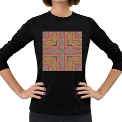 Abstract Design Abstract Art Orange Women s Long Sleeve Dark T-shirt by Pakrebo