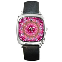 Flower Mandala Art Pink Abstract Square Metal Watch