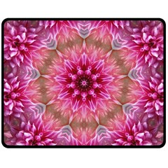 Flower Mandala Art Pink Abstract Double Sided Fleece Blanket (medium)