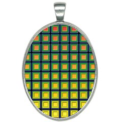 Tile Background Image Pattern Squares Oval Necklace