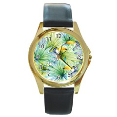 Fancy Tropical Pattern Round Gold Metal Watch by tarastyle