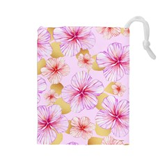 Fancy Tropical Pattern Drawstring Pouch (large) by tarastyle