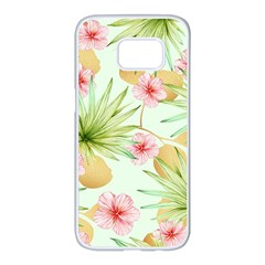 Fancy Tropical Pattern Samsung Galaxy S7 Edge White Seamless Case by tarastyle