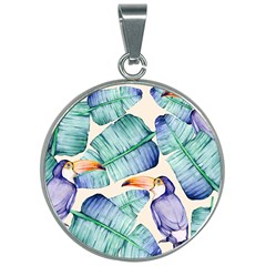 Fancy Tropical Pattern 30mm Round Necklace
