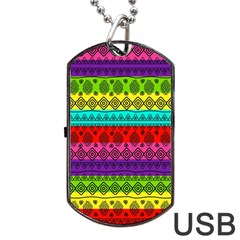 Fancy Colorful Mexico Inspired Pattern Dog Tag Usb Flash (one Side) by tarastyle
