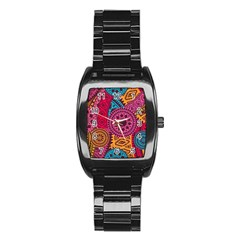 Fancy Colorful Mexico Inspired Pattern Stainless Steel Barrel Watch by tarastyle