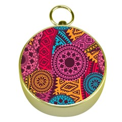 Fancy Colorful Mexico Inspired Pattern Gold Compasses by tarastyle