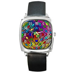 Background Structure Texture Square Metal Watch