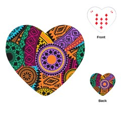 Fancy Colorful Mexico Inspired Pattern Playing Cards (heart) by tarastyle