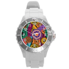 Fancy Colorful Mexico Inspired Pattern Round Plastic Sport Watch (l) by tarastyle