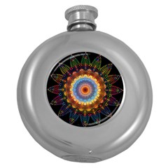 Colorful Prismatic Chromatic Round Hip Flask (5 Oz)