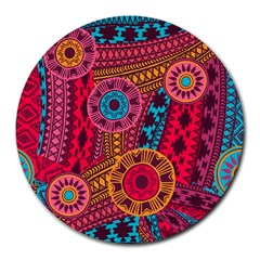 Fancy Colorful Mexico Inspired Pattern Round Mousepads by tarastyle