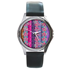 Fancy Colorful Mexico Inspired Pattern Round Metal Watch by tarastyle