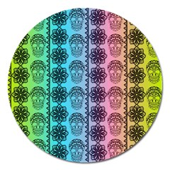 Fancy Colorful Mexico Inspired Pattern Magnet 5  (round)