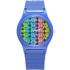 Fancy Colorful Mexico Inspired Pattern Round Plastic Sport Watch (s) by tarastyle