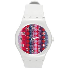 Fancy Colorful Mexico Inspired Pattern Round Plastic Sport Watch (m) by tarastyle