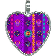 Fancy Colorful Mexico Inspired Pattern Heart Necklace by tarastyle