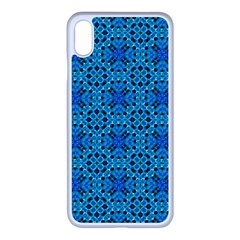 Background Image Tile Pattern Blue Apple Iphone Xs Max Seamless Case (white)