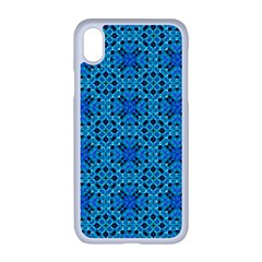 Background Image Tile Pattern Blue Apple Iphone Xr Seamless Case (white)