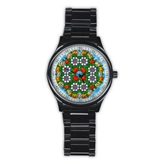 Mandala Background Colorful Pattern Stainless Steel Round Watch