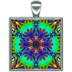 Fractal Art Pictures Digital Art Square Necklace by Pakrebo