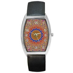 Tile Background Image Ornament Barrel Style Metal Watch