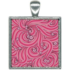 Pattern Doodle Design Drawing Square Necklace