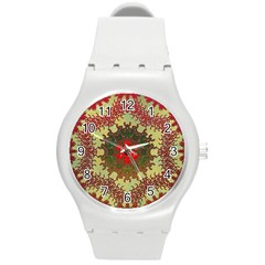Tile Background Image Color Pattern Round Plastic Sport Watch (m)