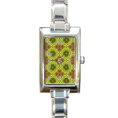 Tile Background Image Pattern Green Rectangle Italian Charm Watch by Pakrebo