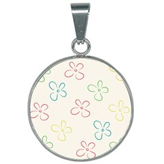 Flower Background Nature Floral 25mm Round Necklace