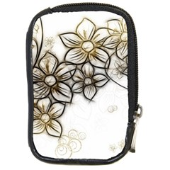Curlicue Kringel Flowers Background Compact Camera Leather Case by AnjaniArt