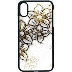 Curlicue Kringel Flowers Background Apple Iphone X Seamless Case (black)