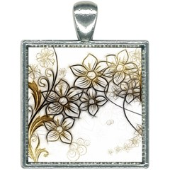 Curlicue Kringel Flowers Background Square Necklace by AnjaniArt
