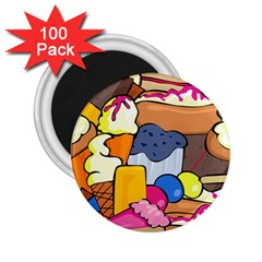 Sweet Dessert Food Muffin Cake 2 25  Magnets (100 Pack)  by Alisyart
