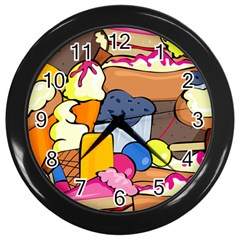 Sweet Dessert Food Muffin Cake Wall Clock (black) by Alisyart