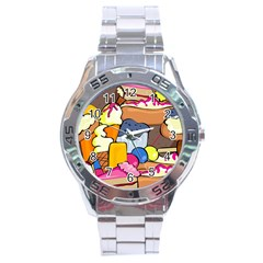 Sweet Dessert Food Muffin Cake Stainless Steel Analogue Watch