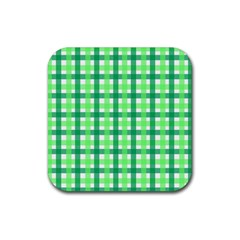 Sweet Pea Green Gingham Rubber Coaster (square)