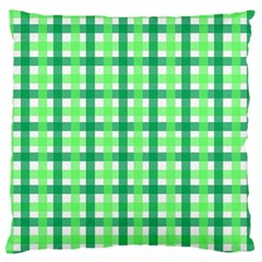 Sweet Pea Green Gingham Large Flano Cushion Case (two Sides) by WensdaiAddamns