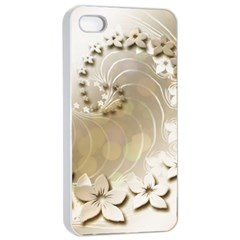 Flora Flowers Background Leaf Apple Iphone 4/4s Seamless Case (white)