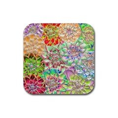 Dahlia Flower Colorful Art Collage Rubber Coaster (square)  by Pakrebo