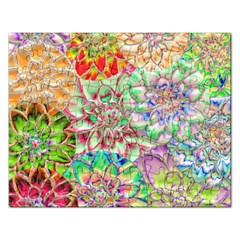 Dahlia Flower Colorful Art Collage Rectangular Jigsaw Puzzl