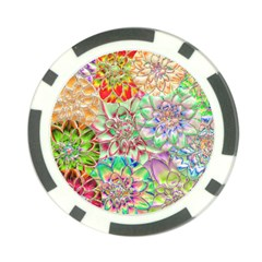 Dahlia Flower Colorful Art Collage Poker Chip Card Guard