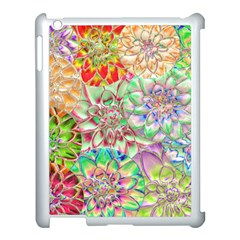 Dahlia Flower Colorful Art Collage Apple Ipad 3/4 Case (white)