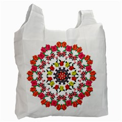 Tile Background Image Color Pattern Flowers Recycle Bag (one Side)