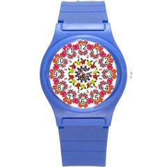 Tile Background Image Color Pattern Flowers Round Plastic Sport Watch (s)