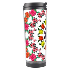 Tile Background Image Color Pattern Flowers Travel Tumbler