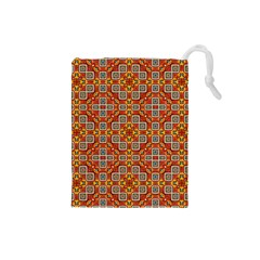 Tile Background Image Pattern Drawstring Pouch (small)